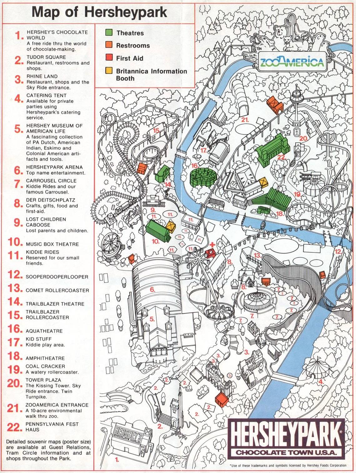 1981 Hersheypark map