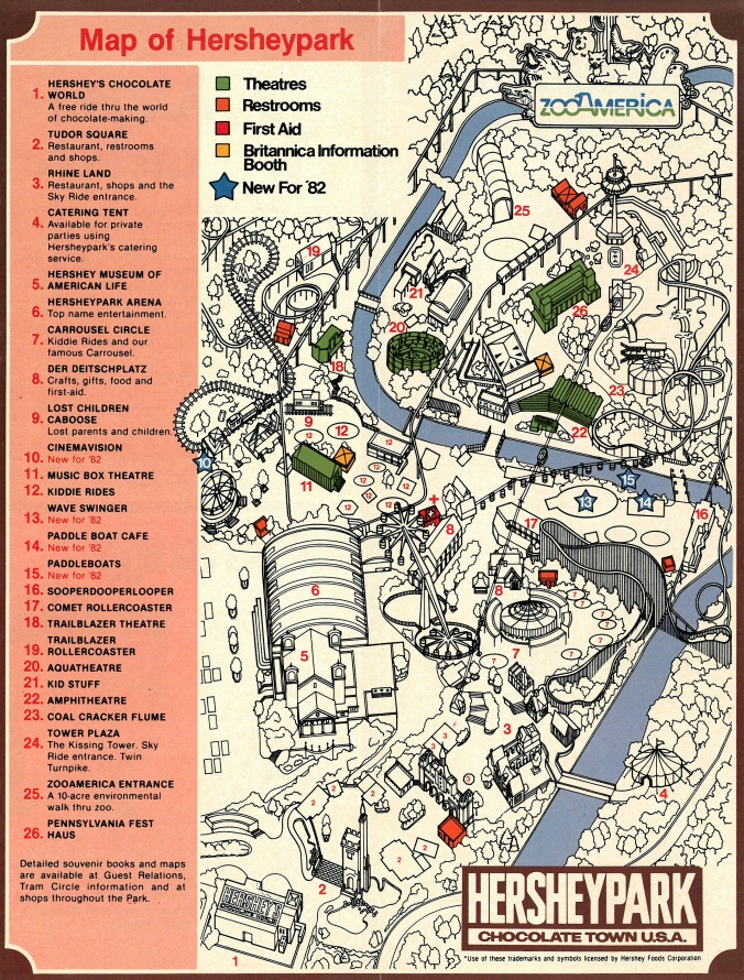 1982 Hersheypark map