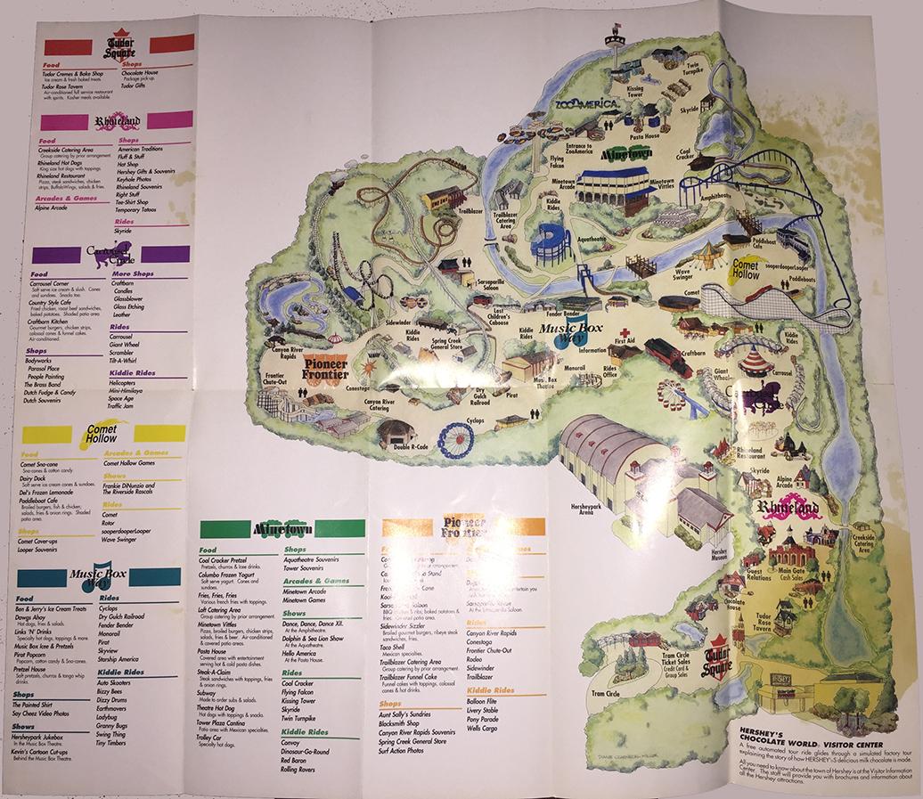 1991 Hersheypark map