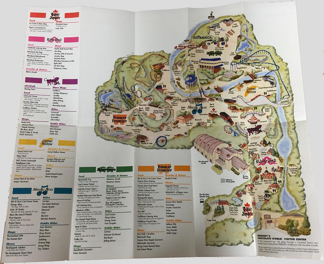 1992 Hersheypark map