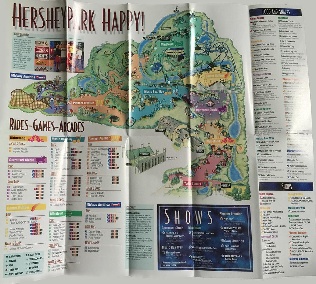 1998 Hersheypark map