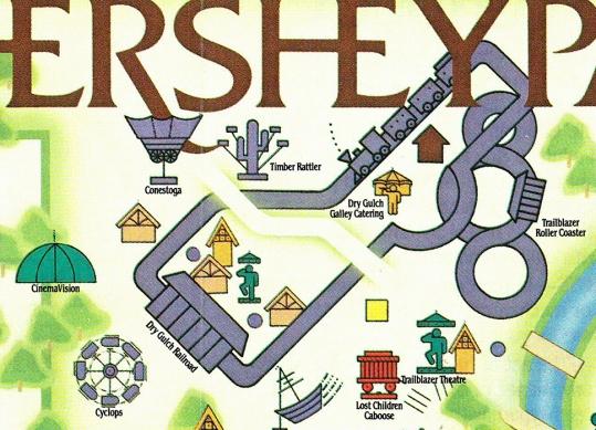 1985 Pioneer Frontier Hersheypark map