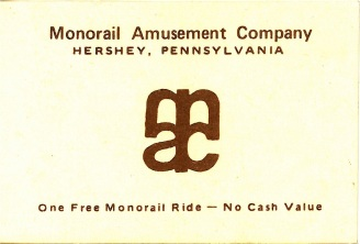 Monorail Amusement Company ticket for one free monorail ride.