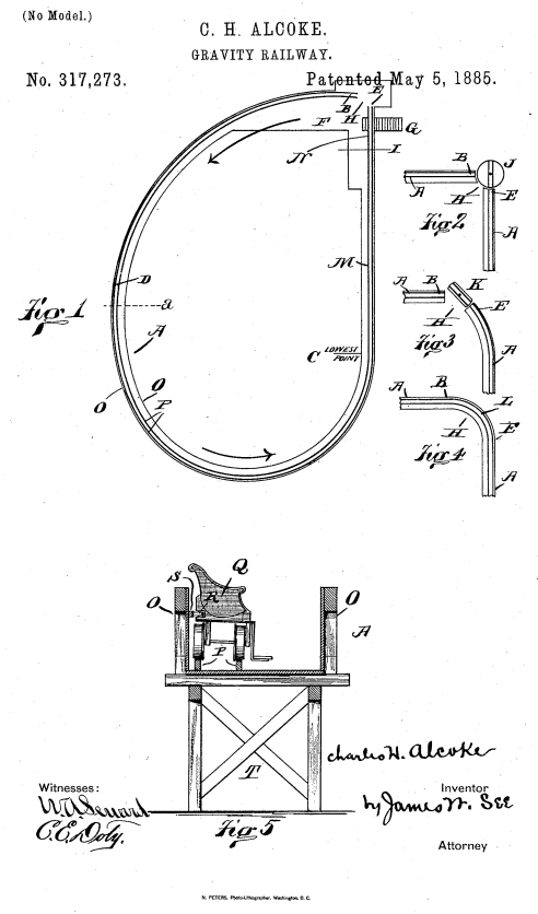 US 317273 - Gravity Railway [Alcoke, C.H.] (Fig. 1-5)