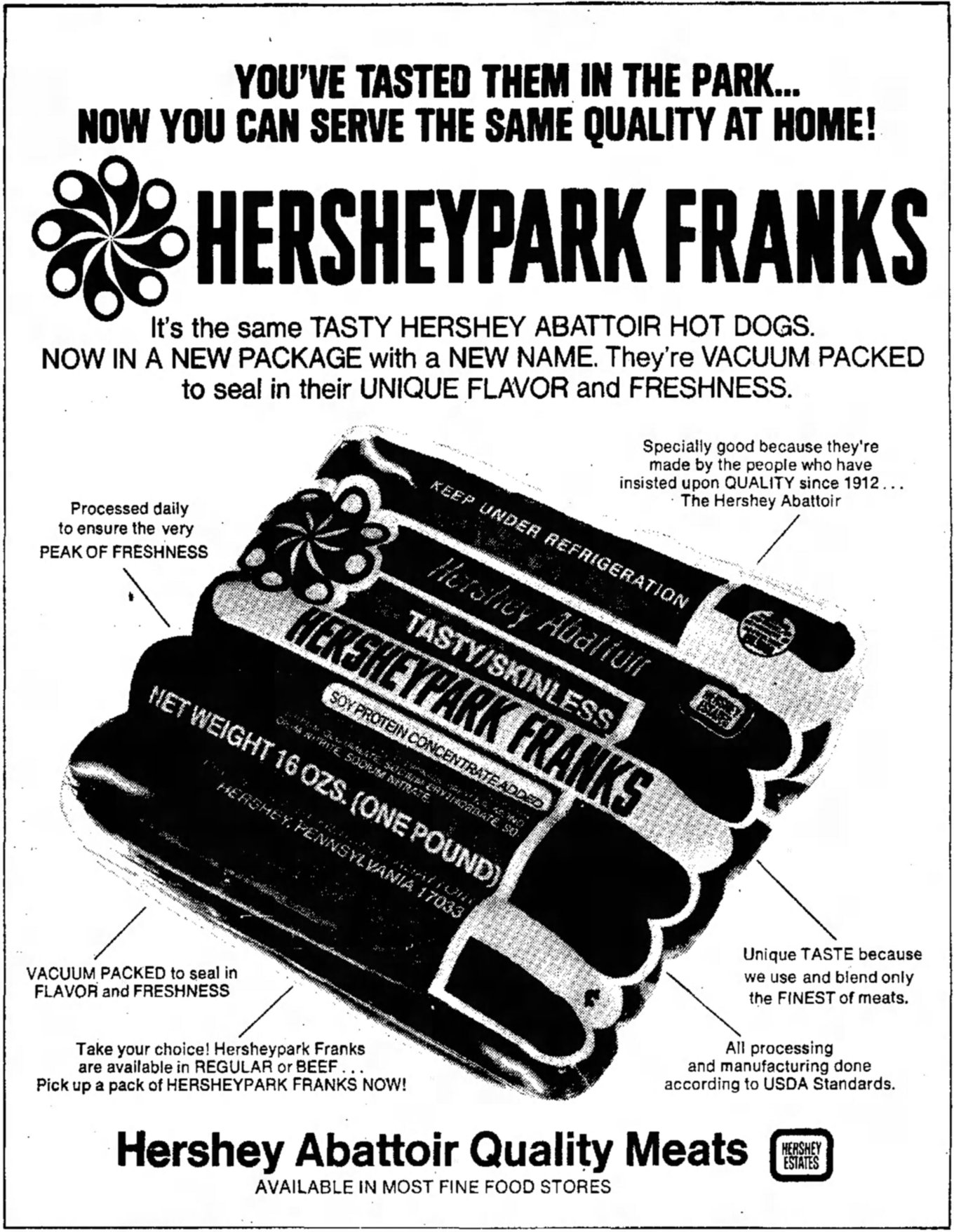 Hershey Abattoir Hersheypark Franks advert